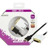 3m Deltaco HDMI till DVI-D Svart